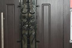 Стальная дверь со стеклопакетом и ковкой