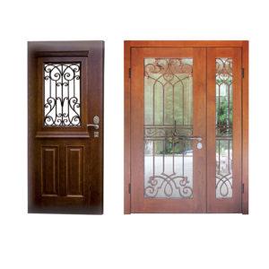 двери с ковкой и стеклопакетоп